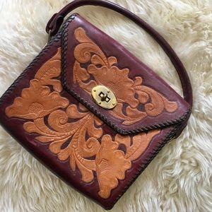 Handbags - Vintage Tooled Leather Handbag Embossed Leather